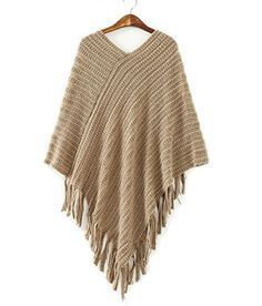 Womens Vneck Asymmetric Batwing Tassels Poncho Cape Shawls Winter Knit Sweater Cloak  Coffee  * Find out more about the great product at the image link. (This is an affiliate link)