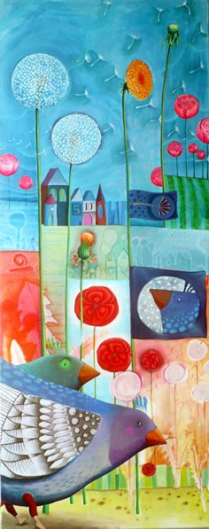This piece inspires me and may even inspire you to try something similar. This painting is by Diane Salter. Pop Art, Modern Art, Contemporary Art, Art Fantaisiste, Arte Pop, Naive Art, Whimsical Art, Art Images, Bing Images