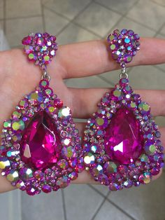 Pageant earrings | Fuchsia pageant earrings | hot pink pageant earrings | www. LMBling.com | $32 shipped and 3.25 inches long