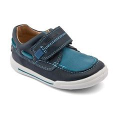 Flexy-Soft Sail, Blue Boys Riptape First Walking Shoes Baby Shoes