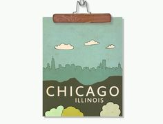 Wall Art Poster City Skyline - Chicago No.6 - Travel and Typography Art Print. $20.00, via Etsy.