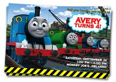 Thomas Train Printable Birthday Invitation Card DIY Thomas train