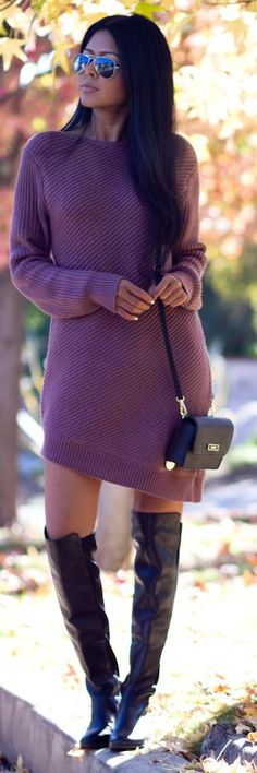 I absolutely love this sweater dress... I'm not a big fan of the boots because I can't confirm the heel, BUT I love that they're over-the-knee, just give me a 4-inch heel & I'm good!