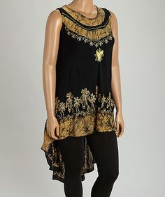 Look what I found on #zulily! Black & Gold Floral Sleeveless Tunic - Plus #zulilyfinds