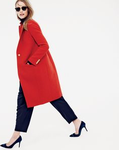 J.Crew women's Collection harris tweed topcoat, pleated crop pant, and Elsie velvet pumps.