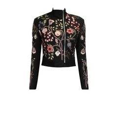 Black embroidered chintz bomber jacket with floral lehenga available... ($423) ❤ liked on Polyvore featuring outerwear, jackets, flower print jacket, floral embroidered jacket, embroidery jackets, bomber style jacket and embroidered jacket