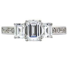 Diamonique 3.40 cttw 3 Stone Ring, Platinum Clad