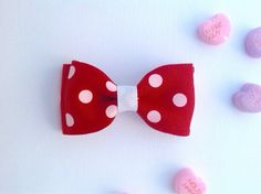 Valentine's Day Hair Clip Girl Red White by sherbetwithsprinkles