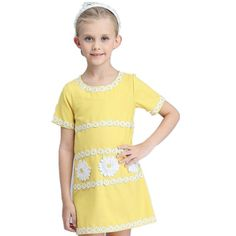 Girls Elegant Short Sleeve Princess Cotton Yellow Dresses Kids Summer Flower Embroidery Casual Clothing For 3-8Y