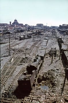 The elevated position clarifies the extent of the destruction in the main station of the Tuscan capital Florence (Italy). The picture was taken in July 1944 by Walter Hollnagel