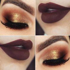 O batom marrom fica incrível com dourado intenso e esfumado alaranjado. Uma make quente ótima para pele parda e negra.