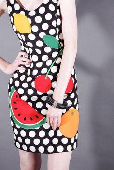 Vintage 1990s Moschino Fruit Print Dress