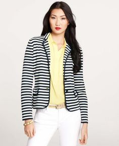 Ann Taylor - Striped Tipped Jacket