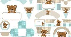 Little Bear for Baby Shower: Mini Kit for Free Print. Teddy Bear Party, Teddy Bear Birthday, Teddy Bear Baby Shower, Baby Boy Shower, Baby Showers, Cowboy Birthday, Imprimibles Gratis Baby Shower, Baby Shower Invitaciones, Bear Theme