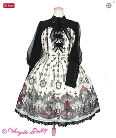 83f5fe2379 Angelic Pretty USA Ghost Night Bride One Piece - White - [Material]Original  Print Chiffon Polyester)Dot Tulle Polyester)[Lace]Tulle LaceSynthetic ...