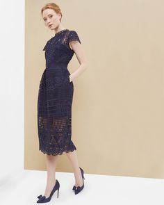 Scalloped lace tulip dress - Navy | Dresses | Ted Baker ROW