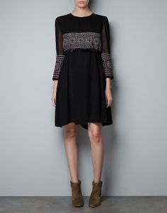 DRESS WITH EMBROIDERED DETAILS - Dresses - Woman - ZARA United States