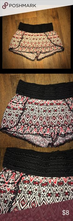 ♥️ Boho Tribal Fringe Lace Crotchet Trim Shorts S These bright patterned shorts are so cute! They are size M but fit more like an S. They're in excellent condition & have only been worn once! I have other shorts & clothes in similar sizes & styles, check out my closet! & thanks for looking :) Shorts