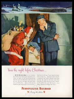 1947 Pennsylvania Railroad Christmas train Santa conductor art vintage print ad