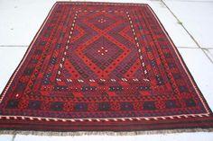 Vintage tribal Afghan Kilim Hand Woven Vintage Wool Kelim Area Rug 9'7x6'3 #4781 #Tribal
