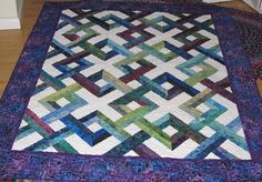 Lattice Quilts | Blue Hawaii Lattice Batik Lap Quilt by RatherBeeQuilting on Etsy