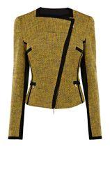 Karen Millen Cotton Tweed Item Jacket in Yellow (mustard)
