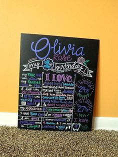 Hand Painted Custom Chalkboard, 1st Birthday Poster Sign by ArtByGillian, Olivia Rose $60.00