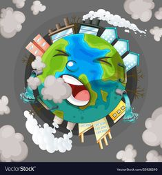 Air pollution is turning Mother Nature prematurely gray. World Pollution Day, Pollution Environment, Poster On Pollution, Earth Drawings, Art Environnemental, Earth Poster, Save Our Earth, Poster Drawing, Art Articles
