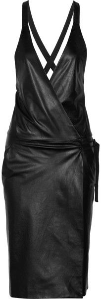 Proenza Schouler Leather Wrap Dress in Black
