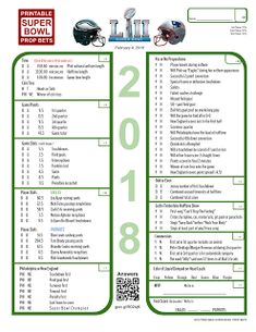 Printable Super Bowl Prop Bets sheet in PDF for Super Bowl party game. 2018 LII Minnesota, 2019 LIII Atlanta, 2020 LIV Miami, 2021 LV Los Angeles