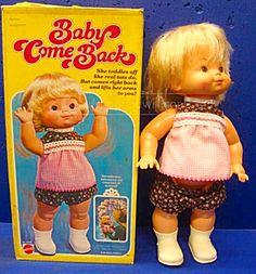 Vintage 1976 Baby Come Back Doll With Original Box By Mattel