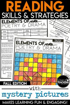 Six different reading strategies are included with matching mystery picture grids for Fall!  Elements of Poetry and Drama - Figurative Language - RL.4.5, RL.5.5 Connecting Illustrations to Text - Making Connections - RL.4.7, RL.5.7 It's All In The Details - Drawing Inferences - RI.4.1, RI.5.1 Explaining the Text - Analyzing Events and Ideas - RI.4.3, RI.5.3 Looking for the Meaning - Context Clues - RI.4.4, RI.5.4 Integrating Information - Comparing Texts on Same Topic - RI.4.9, RI.5.9