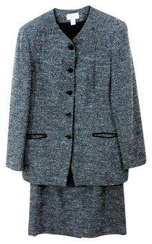 509f0ee4698e4 Talbots Collarless Black Grey Wool Tweed Skirt Suit Tweed Skirt