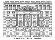 Morton Freeman Plant mansion front elevation. Today is Cartier's Fifth Avenue store