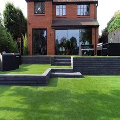 Moodul Concrete Walling Blocks - Black 600 x 300 Single Size Concrete Block Walls, Concrete Edging, Modern Outdoor Kitchen, Modern Garden Design, Backyard Patio Designs, Dream Garden, Outdoor Gardens, Garden Ideas, Paving Ideas