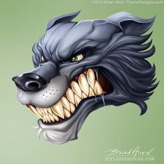 Check out this graphic mascot I illustration of any angry wolf head, created for Great Dane Graphics. I created in Manga Studio and Photoshop.