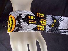 Halloween 2 Beaded Peyote Bracelet Cuff by FUNPATTERNDESIGNS