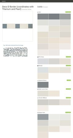 Deco D Border (coordinates with Titanium and Pearl). Veranda Solids. Porcelain. Daltile. Behr. PPG Paints. Olympic. Benjamin Moore. Ralph Lauren Paint. Sherwin Williams. Valspar Paint.  Click the gray Visit button to see the matching paint names.