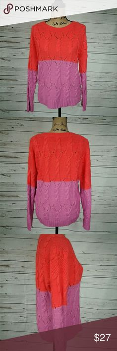 Urban Outfitters cable knit sweater This cable knit sweater has beautiful bright red orange and a purple pink. These colora will definately cheer you up this fall and winter as well as keep you warm!🔥☃Very comfy. It is Coincidence and Chance by UO. Armpit to armpit is 22 inches. Shoulder to hem is 24 inches. Urban Outfitters Sweaters