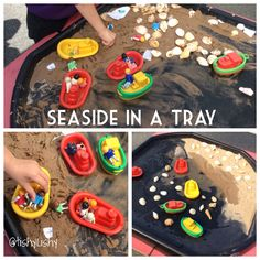 Seaside in a tray. I tipped sand to one side, the children did the rest.