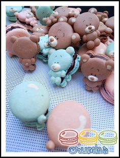 Teddy Bear Macarons - Just love these maybe one day I will try having a go at them from www.crumbsmacaron.com