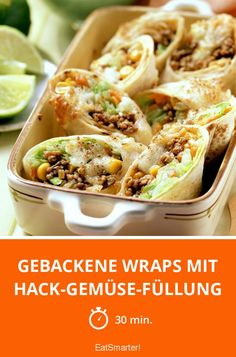Gebackene Wraps mit Hack-Gemüse-Füllung - smarter - Zeit: 30 Min. | eatsmarter.de
