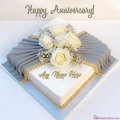 Birthday Cake Write Name, Birthday Cake Writing, Happy Birthday Wishes Cake, Birthday Cake For Husband, Cake Name, Birthday Cakes For Men, Anniversary Cake Designs, Anniversary Cake With Name, Happy Anniversary Cakes