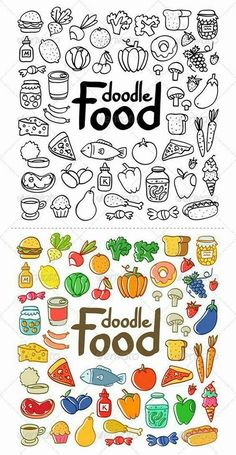 Food doodles for your Bullet journal. Easy doodles for beginners Simple Doodles, Cute Doodles, Doodle Drawings, Easy Drawings, Zentangle Drawings, Zentangle Patterns, Food Doodles, Doodle Art Journals, Doodle Inspiration