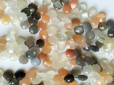 Multi Moonstone Faceted Heart Beads Rare Multi by gemsforjewels