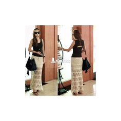 New Fashion Lady Women's Slim Bodycon Apricot Knit Hollow Out Ankle... (79 HKD) via Polyvore
