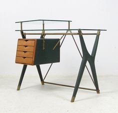 Silvio Berrone; Brass, Wood Leather and Vinyl Desk for the Bialetti Building by V.I.S., c1955.
