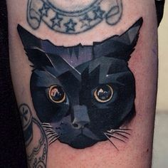 Black Midnight Kitty Tattoo