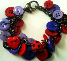 Red Hat Lady Bug Mixed Medium Button Bracelet by OurButtonsandMore