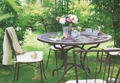 ROMANTIQUE Salon de jardin table ronde Ø100cm 4 places granit ...